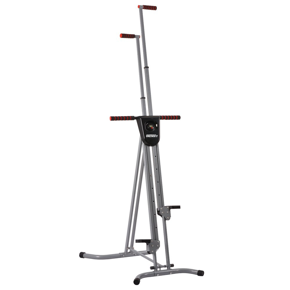 OneTwoFit Vertical Climber Climbing Step Machine Fitness Exercise Climber Stepper Full Total Body Workout with Digital Display for Home Gym OT046