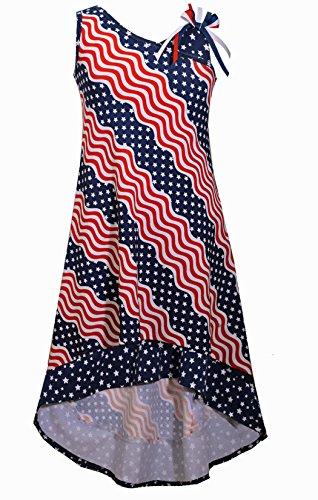 Bonnie Jean Big Girls Red White Blue Americana 4th July Dress (7, Navy)]()