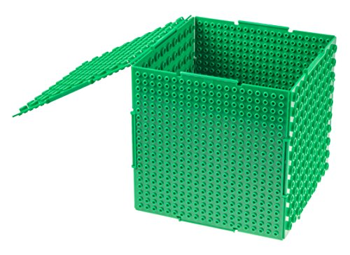 THE CUBE by Strictly Briks | 3D Building Brick & Storage Container Set Pat. Pending | Compatible With All Major Brands | 6 Square Plates | Double Sided for Large & Small Bricks (Green)