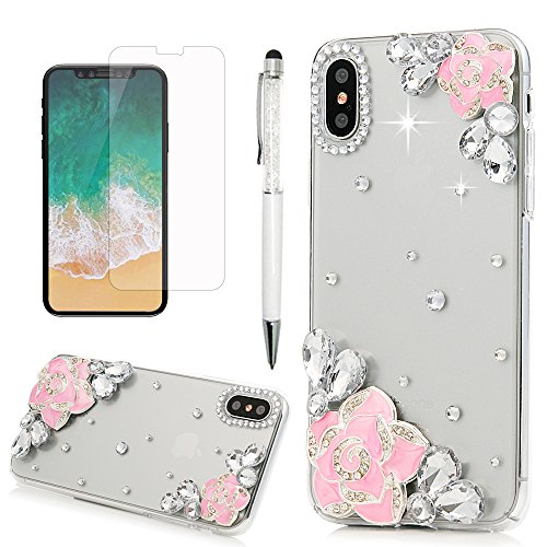 iPhone X Case, Transparent Crystal Clear Handmade 3D Bling Shiny Diamonds Sparkle Hard PC Plastic Shell Full Protective Case Cover for iPhone X with Dust Plug & Stylus by YOKIRIN, - Picture Plate Diamond Frame