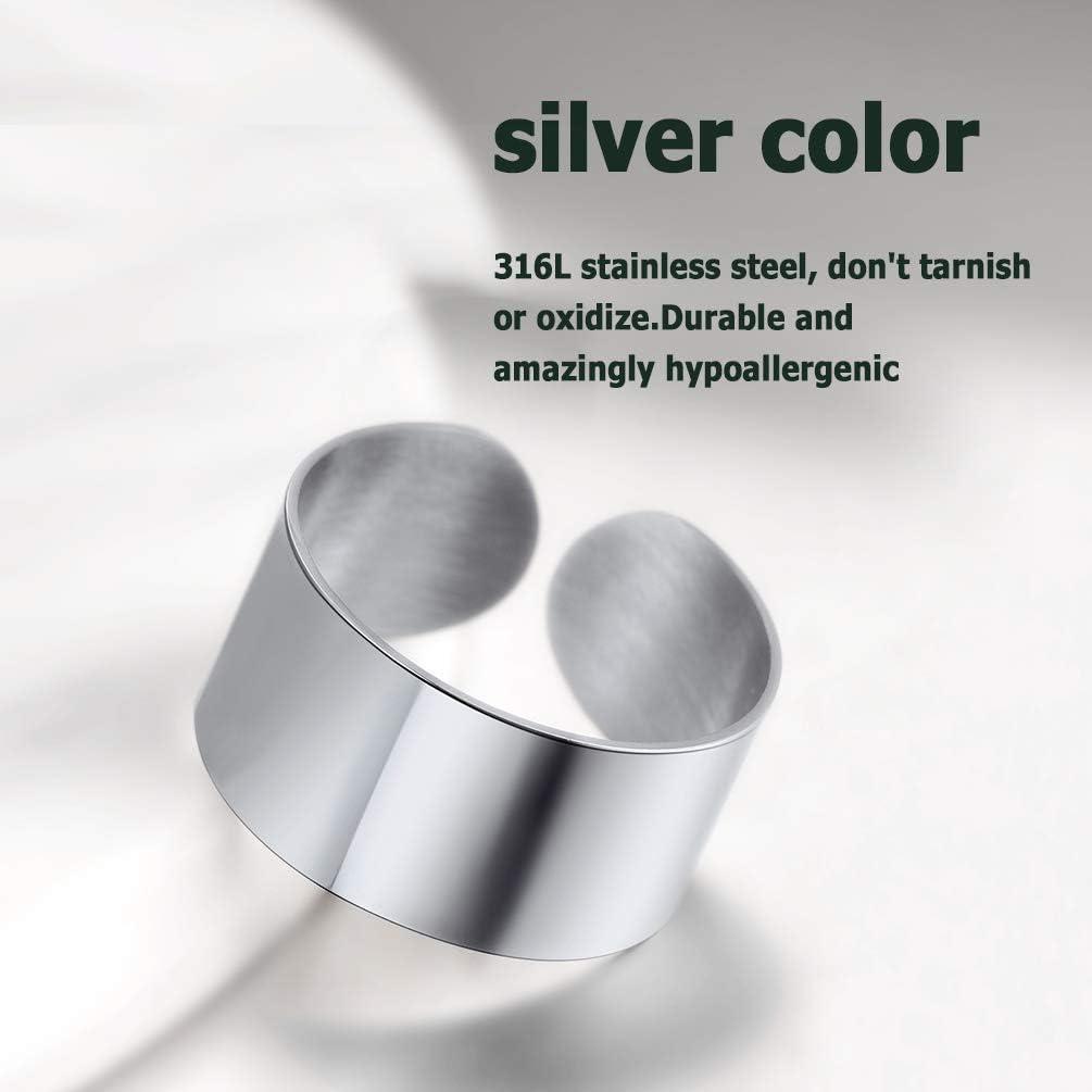 with Gift Box PROSTEEL Classic Ajustable Matt//Plain Rings 316L Stainless Steel//18K Gold Plated//Black for Men//Women