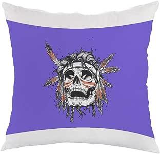 A red Indian skull Printed Pillow, white velvet Fabric 40X40 cm