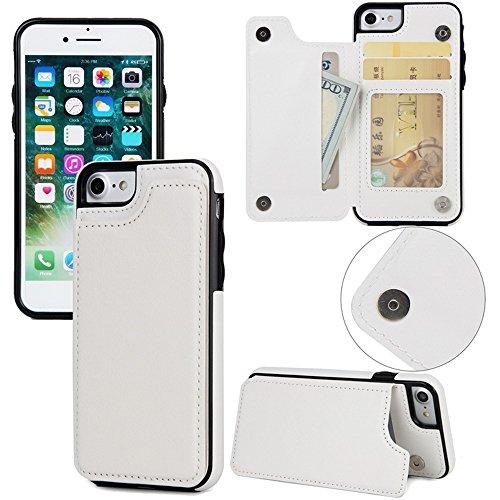 文明情熱的適性Ariyenai iPhone5S/SEケース カバー 手帳型 財布型 おしゃれ 純色 様式 カード入れ 財布カバー マグネット開閉式 スタンド機能 耐衝撃 防塵 耐久性 装着やすい 吸着の機能 ケース カバー (iPhone5S/SE, ホワイト)