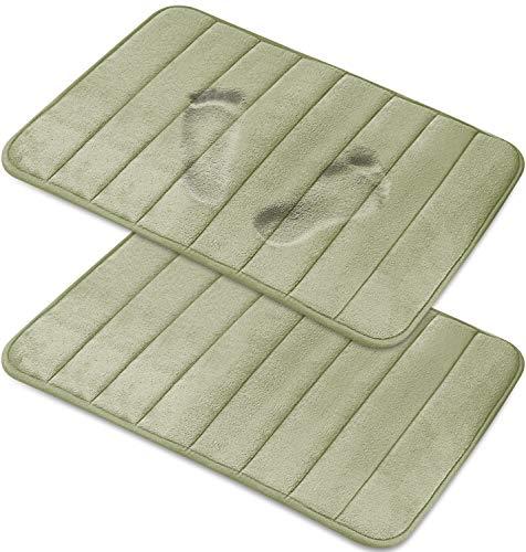 Magnificent [2-Pack] Memory Foam Bath Mat - Non-Slip Back, Coral Fleece Softness, Highly Absorbent [20X32 Inches, Sage Green] (Sage Green Memory Foam Bath Mat)