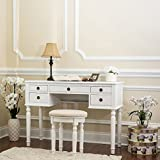 white makeup vanity table Fineboard CFB-VT01-W Dressing Stool Beauty Station Makeup Table Three Mirror Vanity Set, 5 Organization Drawers, White