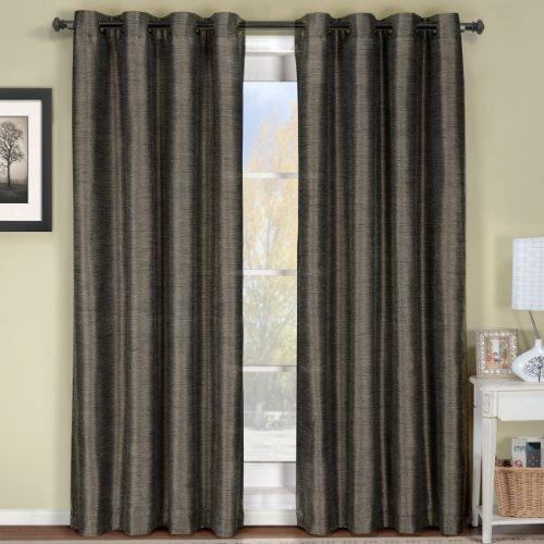Luxury Geneva Multi-layer Gray-Silver Grommet Blackout Window Curtain Drape, Lined-Stripe Pattern, 52x108 inches, by Royal Hotel