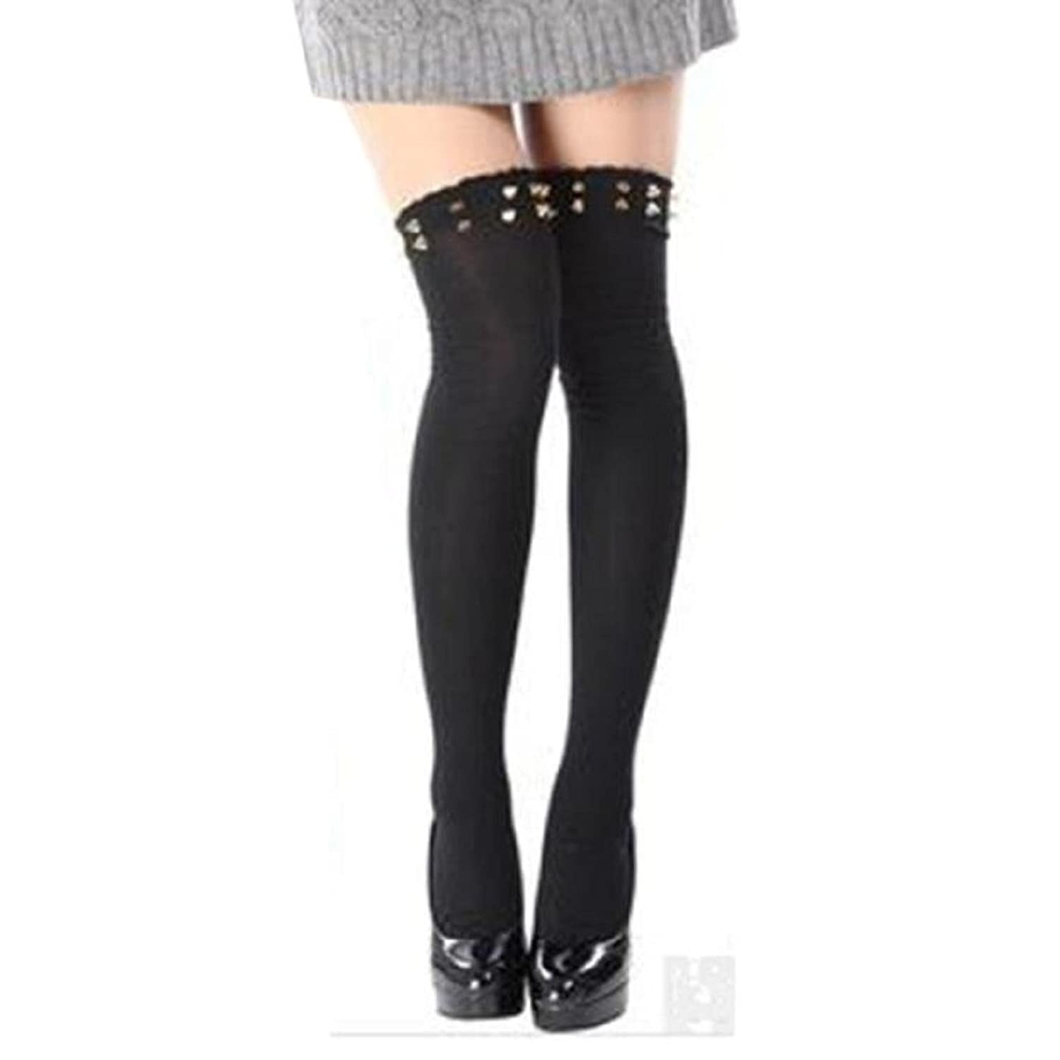 ABC® 2015 New Women Long Over Knee Thigh-High Socks Rivet Stocking Boot Socks