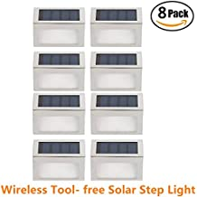 [Pack of 8] HowFine Outdoor Stainless Steel LED Solar Step Light Wireless Super Bright Modern White Lamp for Deck, Staircase, Walkway, Patio, Garden, Yard, Patio