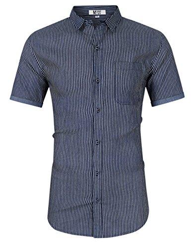 MrWonder Men's Casual Slim Fit Short Sleeve Button Down Dress Shirts Denim Shirt (M, Stripe Dark Blue)
