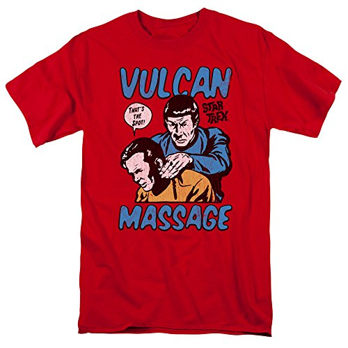 Star Trek Massage Mens Short Sleeve Shirt Red SM
