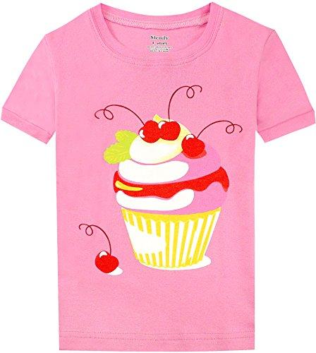 Slenily Big Girls' Top and Shorts Pajama Set Toddler PJS Cotton Kids Sleepwears Size 8 by Slenily (Image #2)