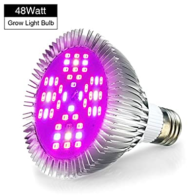 LED Grow Lights Bulb, Pathonor E27 48W LED Full Spectrum High Efficient Hydroponic Plant Grow Lights for Garden Greenhouse, Grow Tent Bulb and Hydroponic Aquatic