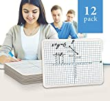 """12 Pack Dry Erase XY Axis Lap Board 9""""X12""""   Interactive Learning Coordinate Grid Whiteboard   For Student and Classroom Use, Math Board , and College Board (Double Sided)"""