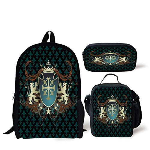 Arms Stationery Design - iPrint School Lunch Pen,Medieval,Heraldic Design of a Middle Ages Coat of Arms Cross Crown Lions Swirls Decorative,Teal Black Cinnamon,Bags