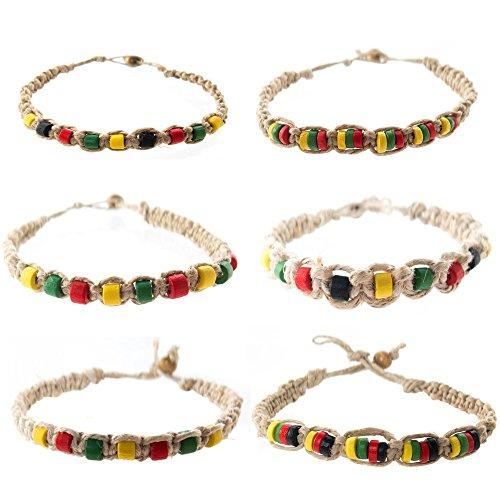 FROG SAC Hemp Bracelet for Men 6 PCs Pack - Rasta Bracelets with Jamaican Color Beads - Handmade - Braided with Natural Rope - Mens Reggae Theme Surfer Summer (Rasta Hemp)