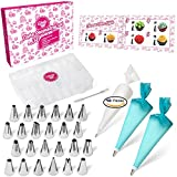 Cake Decorating Supplies Kit 30pcs Set - 24 Stainless Steel Icing Frosting Tips - 2 Couplers Storage Case 2 Reusable Silicone 10 Disposable Pastry Bags - Baking Tool Supply Piping Cake Nozzles