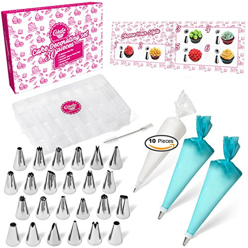 Cake Decorating Supplies Kit 30pcs Set - 24 Stainless Steel Icing Frosting Tips - 2 Couplers Storage Case 2 Reusable Silicone 10 Disposable Pastry Bags - Baking Tool Supply Piping (Cupcake Frosting)