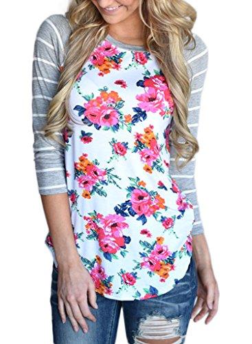 [해외]Dearlovers Womens Striped 3/4 Sleeve Floral Blouse 탑 캐주얼 셔츠/Dearlovers Womens Striped 3/4 Sleeve Floral Blouse Tops Casual Tshirts