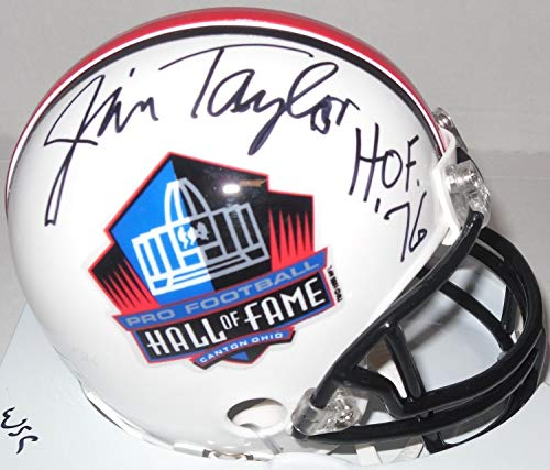 (Hall Of Famer Jim Taylor Autographed Hall Of Fame Mini Helmet Signed Hof 76 - Certified Authentic)