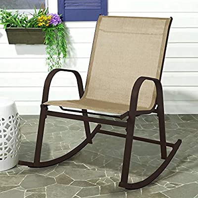 Patio Rocking Chair Recliner and Glider Metal Desk Chair for Outdoor by S'DENTE - ≈COMFORTABLE ROCKING CHAIRS -Founded on a bent steel frame in a classic painted finish, this patio rocking chair strikes an open, streamlined silhouette with fixed arms and swooping gliders. ≈MODERN&RELAX- Take a load off and relax in this charming outdoor rocking chair, offered in a choice of finish options. Designed with the simplicity of a classic patio chair, the addition of rockers makes this a perfect choice for a front porch or a back deck. ≈DURABLE & COMFORTABLE -Its super-summery sling-style seat is made from mesh fabric – great for keeping you cool, and perfect for letting water run right through for quick-drying after rain. - patio-furniture, patio-chairs, patio - 51ldH71g8vL. SS400  -