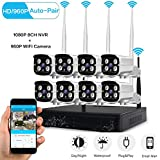 LOOSAFE 8CH 1080P WIFI NVR Kits,Wireless Home Surveillance Security Camera System,8pcs 1.3MP WIFI Bullet IP Cameras,Support Motion Detection Alarm and Remote View by ISO or Android App,No Hard Drive