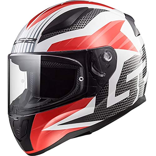 LS2 Helmets Rapid Grid Red Graphic Unisex-Adult Full-Face-Helmet-Style Motorcycle Helmet (White, Large)