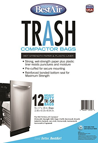 "BestAir WMCK1335012-6, 12 Trash Compactor Bags, 16"" x 9"" x 17"", 6 pack (72 bags)"