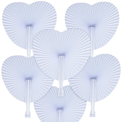 WOWOSS 60 Packs Folding Fans Paper Fans Heart Shaped Assortment with Plastic Handle for Wedding Favor Party Bag Filler