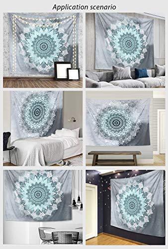 Tapestry Wall Hanging, MDShun Teal Mandala Wall Tapestries Indian Hippie Bohemian Tapestry Wall Mural Home Décor for Bedroom Living Room Decorations 82.7x59.1 Inches