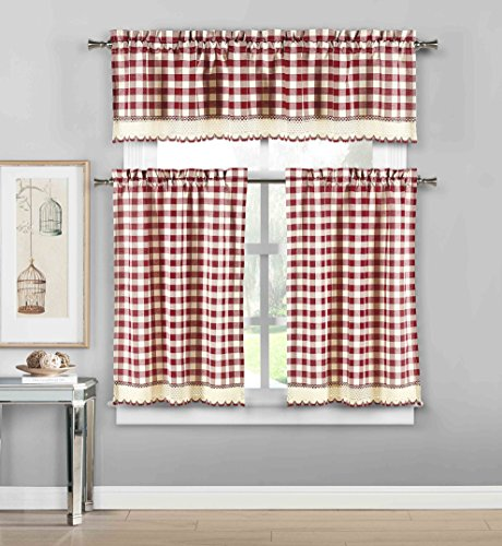 3 Piece Plaid, Checkered, Gingham Kitchen Curtain Set: 35% Cotton, 1 Valance, 2 Tier Panels, with Crochet Accent (Garnet) (Kitchen Checkered)