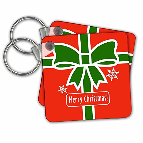 stmas Designs - Merry Christmas- Red Square Design with Green Ribbon and Snowflakes - Key Chains - set of 4 Key Chains (kc_262027_2) (Snowflake Design Key Ring)