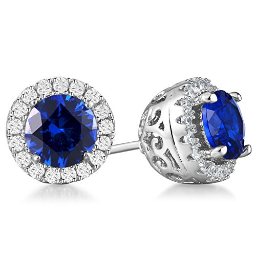 Vibrille 6mm Round Created Blue Sapphire Sterling Silver Stud Earrings for Women with Cubic Zirconia Halo