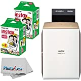 NEW Fujifilm instax SHARE Smartphone Printer SP-2 (Gold) + Fujifilm Instax Mini Twin Pack Instant Film (40 Shots) + Photo4Less Cleaning Cloth + Filming Bundle