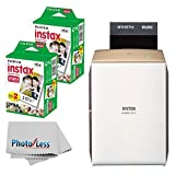 Fujifilm instax Share Smartphone Printer SP-2 (Gold) + Fujifilm Instax Mini Twin Pack Instant Film (40 Shots) + Photo4Less Cleaning Cloth + instant Printer Bundle