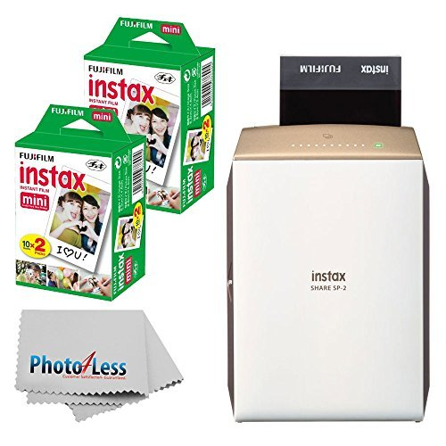 Fujifilm instax Share Smartphone Printer SP-2 (Gold) + Fujifilm Instax Mini Twin Pack Instant Film (40 Shots) + Photo4Less Cleaning Cloth + instant Printer (Best Fuji Portable Printer For Iphones)