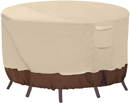 Vailge Round Patio Furniture Covers, 100 Waterproof Outdoor Table Chair Set Covers, Anti-Fading Cover for Outdoor Furniture Set, UV Resistant, 110 DIAx28 H, Beige Brown