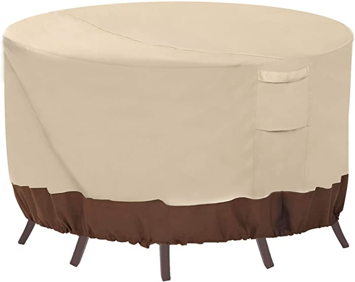 """Vailge Round Patio Furniture Covers, 100% Waterproof Outdoor Table Chair Set Covers, Anti-Fading Cover for Outdoor Furniture Set, UV Resistant, 84"""" DIAx28 H, Beige & Brown"""