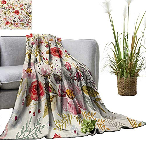 AndyTours Throw Blankets Fleece BlanketFloral,Hand Drawn Watercolor Style Flowers Roses Blooms Leaves Romantic Vintage Artwork,Multicolor,300GSM, Super Soft and Warm, Durable 35