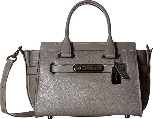 COACH Women's Swagger 27 in Pebbled Leather Dk/Heather Grey One Size