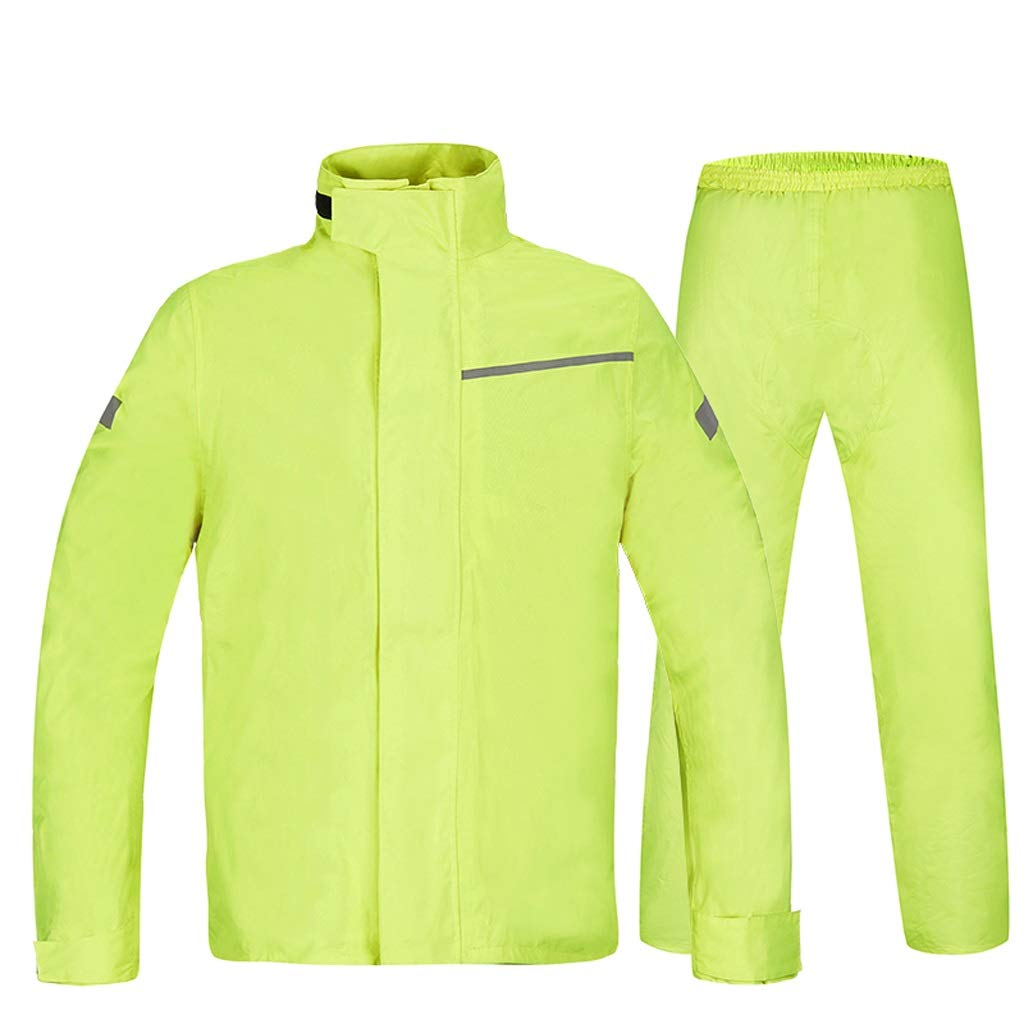 Fluorescent jaune grand WJQSD VêteHommests de Pluie Costume imperméable Adulte, Double Pantalon de Pluie imperméable imperméable de Double d'équitation extérieure d'équitation Imperméable, Coupe-Vent, s