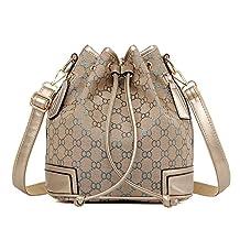 Hynbase Women's Fashion Retro Drawstring Bucket Leather Cross Shoulder Bag