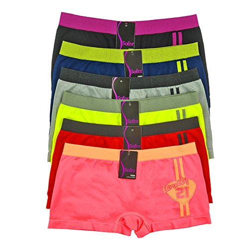 Women's Seamless Stretch Boy Shorts Panties Various Styles (6 Pack) (One Size Fits Most (XS-XL), Lovely21)