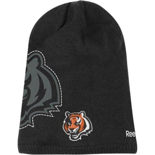 Reebok Cincinnati Bengals 2010 Black Player Sideline Cuffless Skull Cap - NFL Long Knit Slouch Beanie Hat (Player Sideline Nfl Reebok)