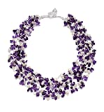 HinsonGayle 'Gabriella' 5-Strand Handwoven Amethyst & White Freshwater Cultured Pearl Necklace-24 in length