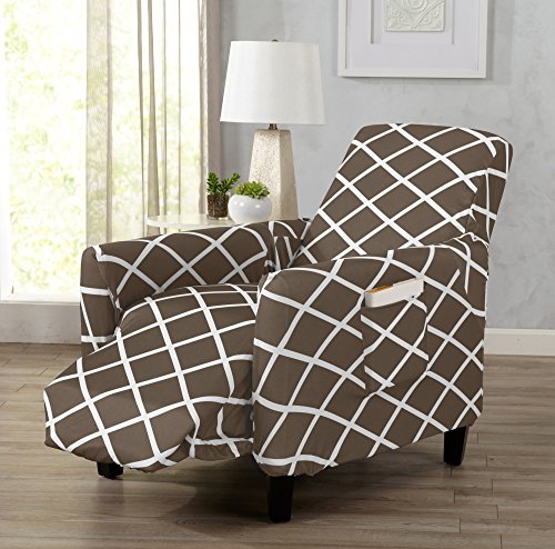UPC 192020000112, Strapless Stretch Printed Slipcover Recliner Cover, Stain and Spill Resistant. Tori Collection by Great Bay Home (Recliner - Mocha)