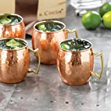 Crockery Wala & Company Copper Steel Set of 4 Barrel Hammered Moscow Mule Copper Mugs and a  Bag