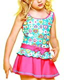 Perfashion Girl's Kids Heart Pattern Pleated Dress One-piece Swimsuit Blue 8-9 Years