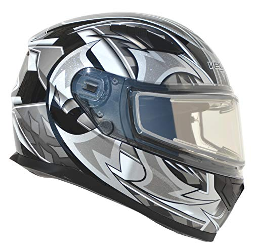 Vega Helmets Ultra Electric Snow Unisex-Adult Full Face Snowmobile Helmet with Heated Shield (Black Shuriken Graphic, Medium)
