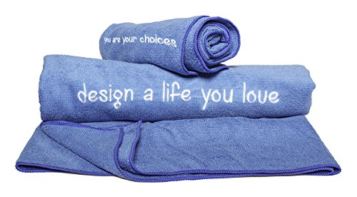 2 Pack Gym DreamMove Towel Set -Extra Soft&Highly Absorbent Towels -100% Microfiber - Retains More Water -Beautifully Embroidered Motivational Text - Best for Sports/ Camping/ Pool/ Bath-Blue