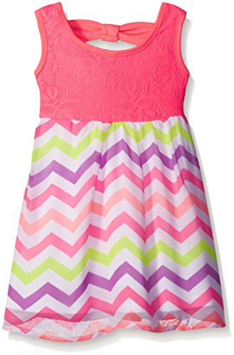 [Limited Too Little Girls' Chiffon Dress with Chevron Print Skirt, Neon Pink, 5] (Neon Party Dresses)